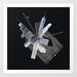 Brooklyn Bridge Gone Wild in Spacetime Art Print