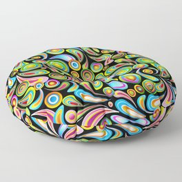 Psychedelic Color Drops Abstract Art Design Floor Pillow
