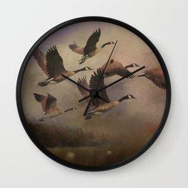 Wild Geese at Dawn Wall Clock
