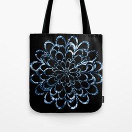 Ice Blue Floral Design Tote Bag