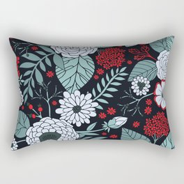 Red, Gray, Aqua & Navy Blue Floral/Botanical Pattern Rectangular Pillow