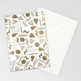 Retro abstract geometrical faux gold white 80'spattern Stationery Cards