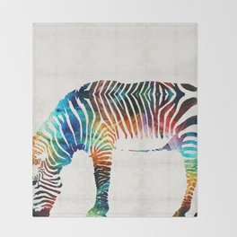 Colorful Zebra Art by Sharon Cummings Throw Blanket