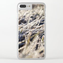 green grass in the frost Clear iPhone Case