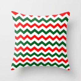 Modern red green white Christmas chevron pattern Throw Pillow