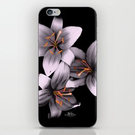 Black and White Ant Lilies Flower Scanography iPhone Skin