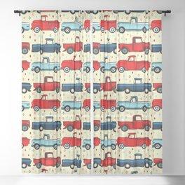 Winter Vintage Trucks Sheer Curtain