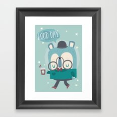 Snazzy Bear Says Good Day Framed Art Print