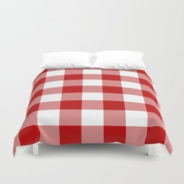 Red and White Buffalo Check Duvet Cover