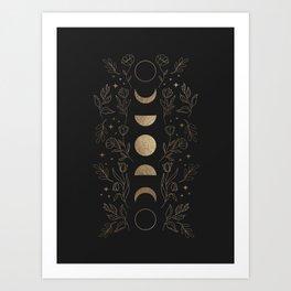 Gold Moon Phases Art Print