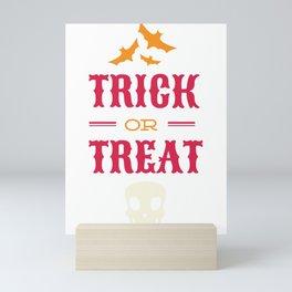 Halloween Bats and Skull Trick or Treat Mini Art Print