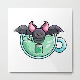 Kawaii Cute Bat-Tea Batty Pun Metal Print