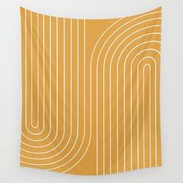 Minimal Line Curvature - Golden Yellow Wall Tapestry