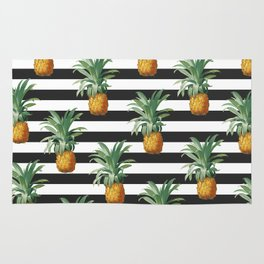 Pineapples Grey Stripes Chic Rug