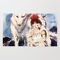 princess mononoke Area & Throw Rugs featuring Princess Mononoke by Tiffany Willis