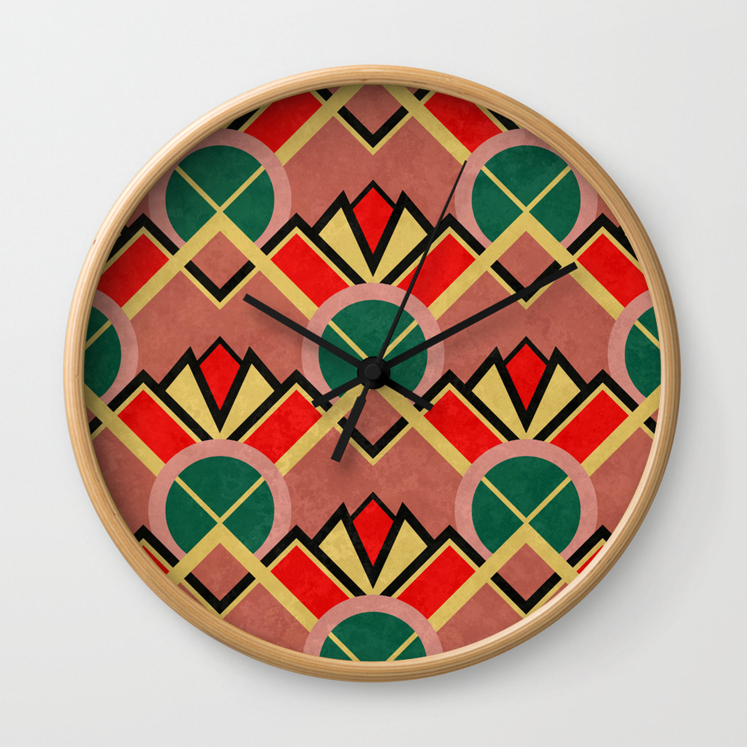 Art Deco Movie Theater Carpet Pattern Wall Clock By Studiosplatter Society6