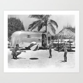 Family Holiday In The Airstream Art Print