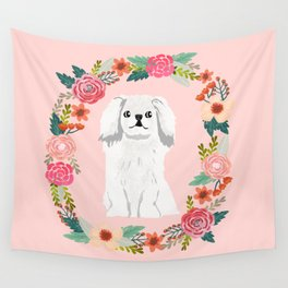 pekingese white floral wreath dog breed pet portrait pure breed dog lovers Wall Tapestry