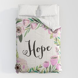 Hope Lettering Watercolor Ilustration Comforters