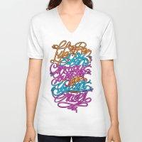 pen V-neck T-shirts featuring PEN by ES427