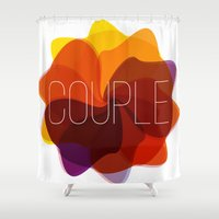 couple Shower Curtains featuring couple by Helmo Studio