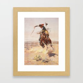 A Bad Hoss by Charles Marion Russell (c 1904) Framed Art Print