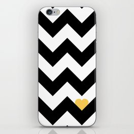 Heart & Chevron - Black/Yellow iPhone Skin