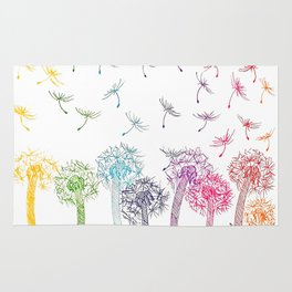 Rainbow dandelions Rug