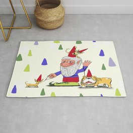 A gnome, two dogs, and a cat Rug
