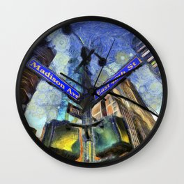 New York Street Sign Van Gogh Wall Clock