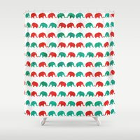 elephants Shower Curtains featuring Elephants  by UvinArt