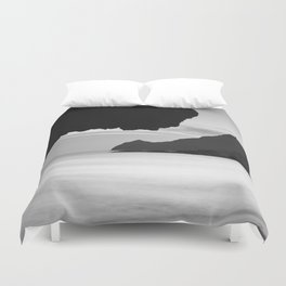 Half Moon Beach. Vela Tower Cliff. Bw Duvet Cover