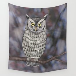 eastern screech owl on a branch Wall Tapestry