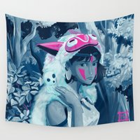 princess mononoke Wall Tapestries featuring Princess Mononoke by hollarity