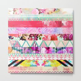 Pastel Abstract Floral Aztec Stripes Girly Pattern Metal Print