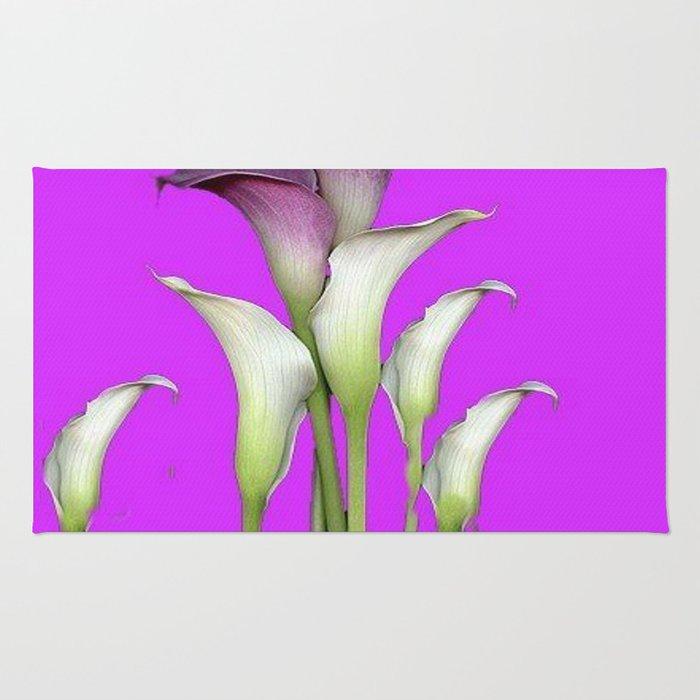 WHITE CALLA LILIES PURPLE VIOLET DECORATIVE ART Rug