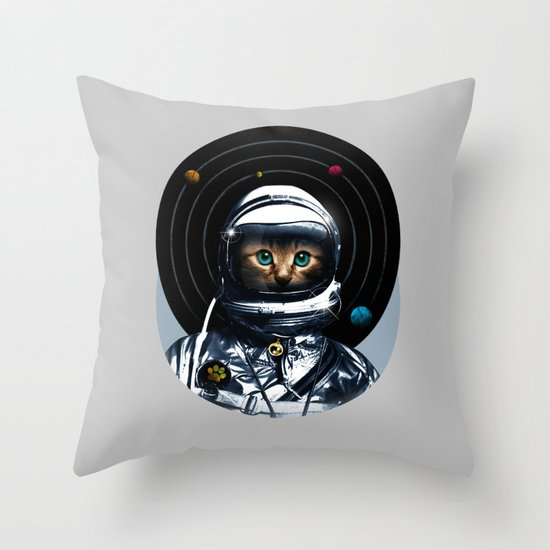 Space Kitten Throw Pillow