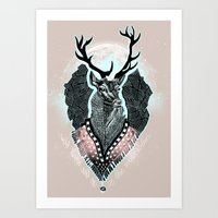 wind Art Prints featuring Wind:::Deer by Süyümbike Güvenç