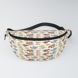 Woodland Animals, Bear, Squirrel, Fox, Owl, Raccoon Fanny Pack