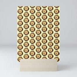 Brown Yellow Daisy Pattern,Retro Mini Art Print