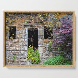 ancient house  in a wall Serving Tray