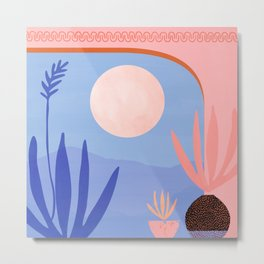 Midnight in the Desert / Blue and Pink Palette Metal Print