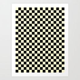 Black and Cream Yellow Checkerboard Art Print