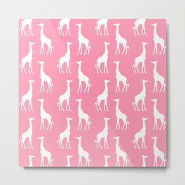 Cute Pink & White Giraffe Pattern  Metal Print