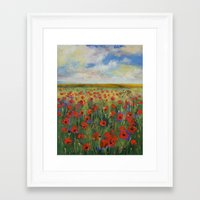 poppies Framed Art Prints featuring Poppies by Michael Creese