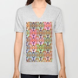 Multicolor Cardigan Corgi Face Pattern - version one Unisex V-Neck