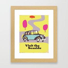 Visit the Seaside vintage car poster Framed Art Print