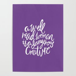 Well Read Woman - Feminist Nerd Girl Quote - White Purple Poster