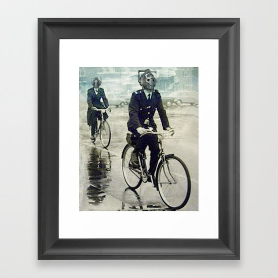 Cybermen on bikes Framed Art Print