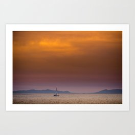Yacht sailing towards Catalina Island Art Print
